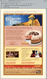 The Cheesecake Factory, December email